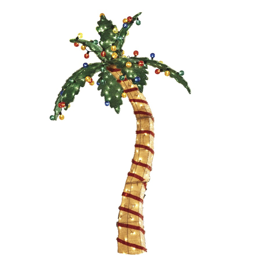 Shop holiday living 1 piece 6 ft palm tree outdoor for Christmas tree lawn decoration