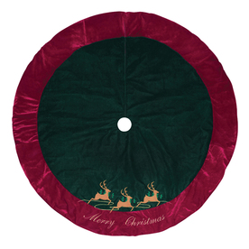 Holiday Living 56-in Green and Red Polyester Reindeer Christmas Tree Skirt
