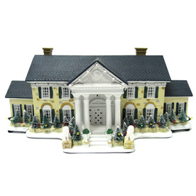 ELVIS Lighted Musical Resin Graceland At Christmas Tabletop Holiday Decoration