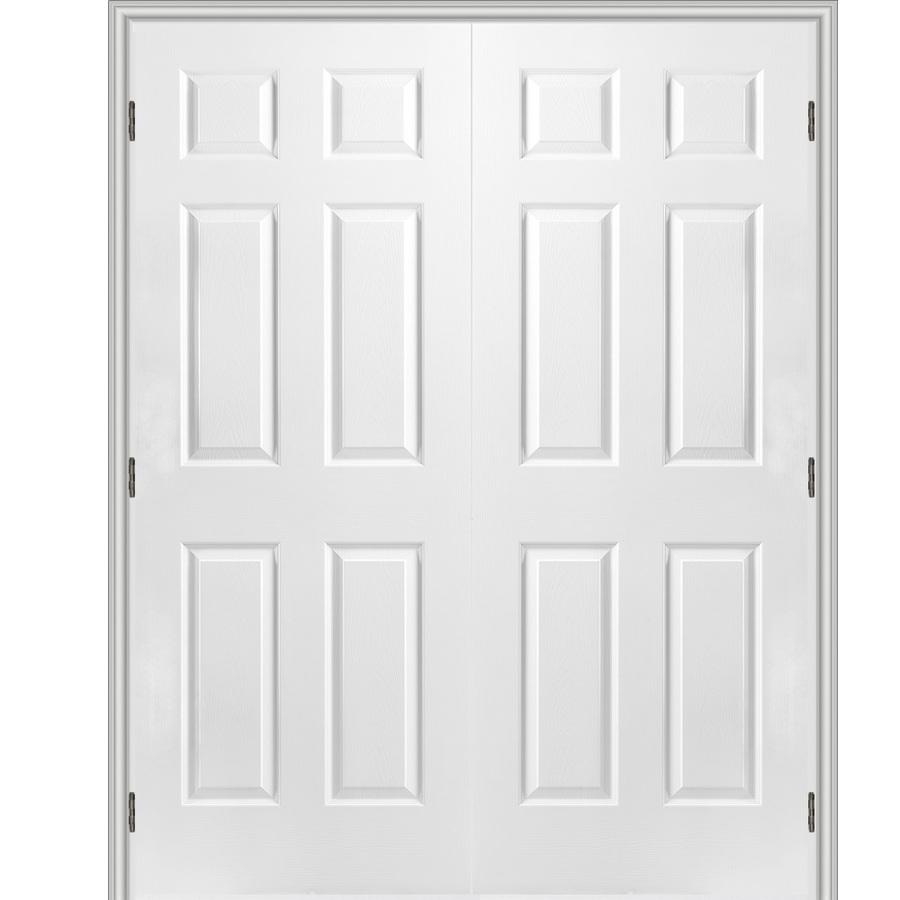 Shop Reliabilt 6 Panel Hollow Core Textured Molded Composite Universal Interior French Door