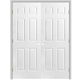 Shop Reliabilt 6 Panel Hollow Core Textured Molded Composite Reversible Interior French Door