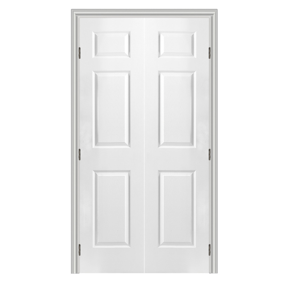 Shop reliabilt 6 panel hollow core textured molded composite reversible interior french door for Interior french doors