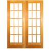 ReliaBilt Prehung Solid Core 15-Lite Clear Glass Pine French Interior Door (Common: 60-in x 80-in; Actual: 61.5-in x 81.5-in)
