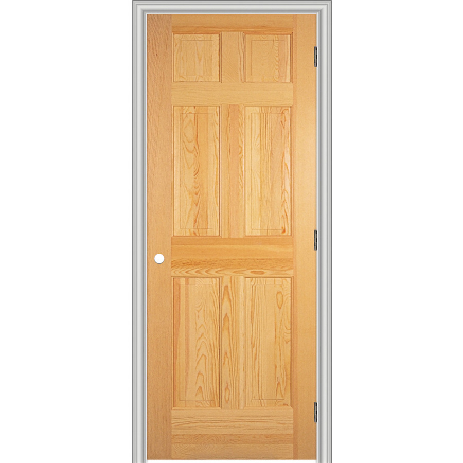 Prehung Interior Doors Of Shop Reliabilt 26 W 6 Panel Solid Wood Left Hand Interior