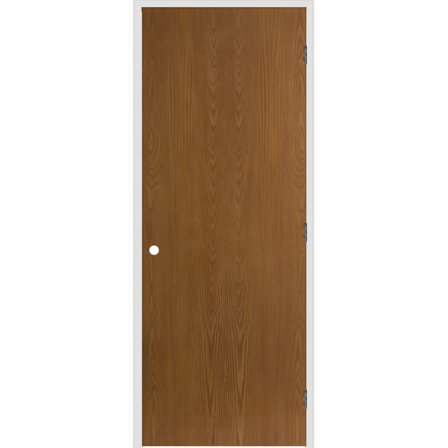 Shop Reliabilt Flush Hollow Oak Left Hand Interior Single Prehung Door Common 32 In X 80 In