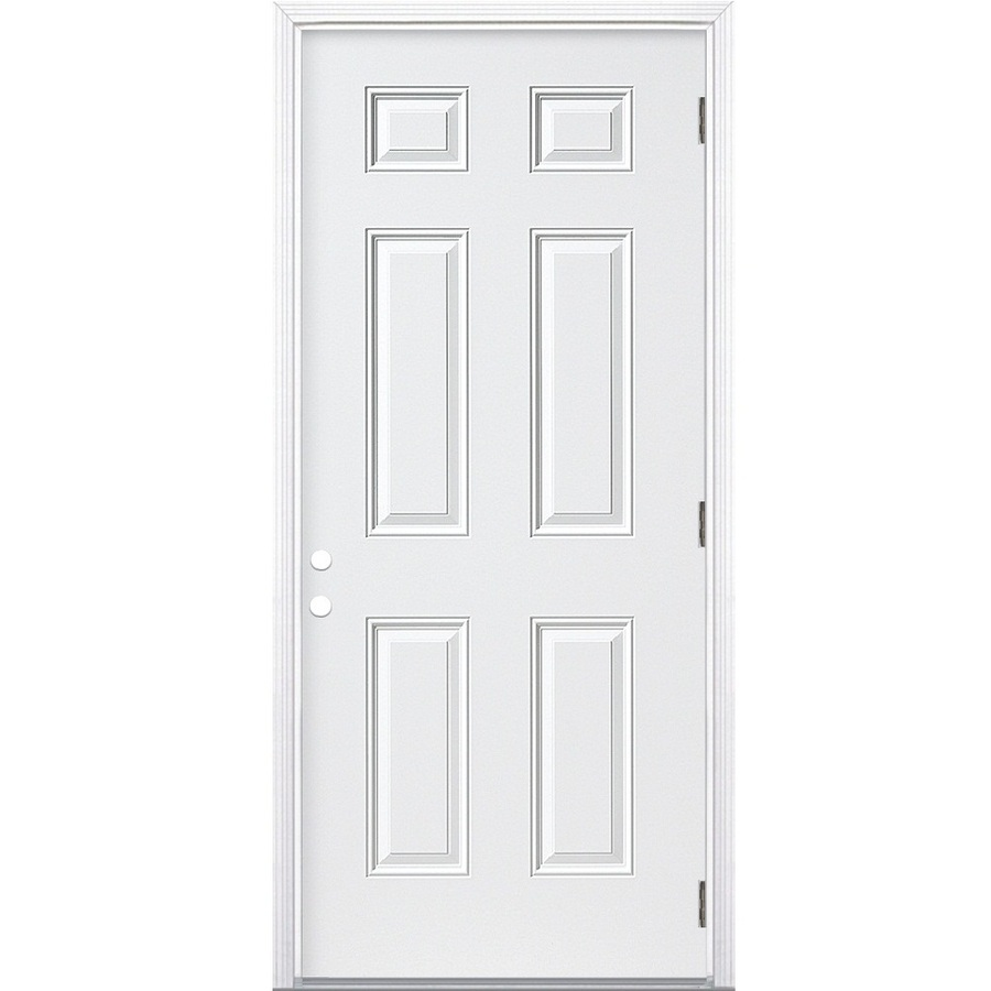 Shop reliabilt 6 panel prehung outswing steel entry door for Steel entry doors