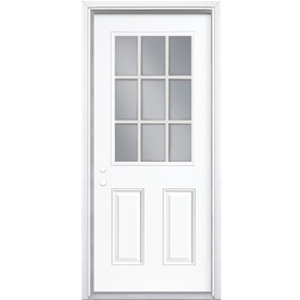 ReliaBilt 2-Panel Insulating Core 9-Lite Right-Hand Inswing Primed Steel Prehung Entry Door (Common: 32-in x 80-in; Actual: 33.5-in x 81.5-in)