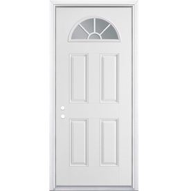 ReliaBilt 4-Panel Insulating Core Fan Lite Right-Hand Inswing Primed Steel Prehung Entry Door (Common: 36-in x 80-in; Actual: 37.5-in x 81.5-in)