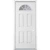 ReliaBilt 4-Panel Insulating Core Fan Lite Left-Hand Inswing Primed Steel Prehung Entry Door (Common: 36-in x 80-in; Actual: 37.5-in x 81.5-in)