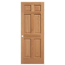 Shop Reliabilt Prehung Solid Core 6 Panel Oak Interior Door Common 24 In X 80 In Actual 25 5
