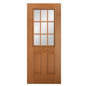 Shop reliabilt 2 panel solid wood core 9 lite hem fir for Exterior door slab