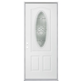 ReliaBilt Hampton 2-Panel Insulating Core Oval Lite Right-Hand Inswing Primed Steel Prehung Entry Door (Common: 36-in x 80-in; Actual: 37.5-in x 81.5-in)