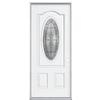 ReliaBilt Hampton 2-Panel Insulating Core Oval Lite Left-Hand Inswing Primed Steel Prehung Entry Door (Common: 36-in x 80-in; Actual: 37.5-in x 81.5-in)