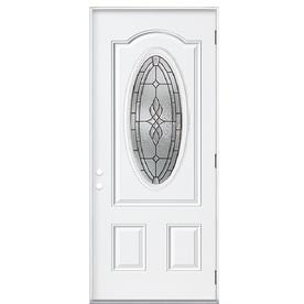 Shop ReliaBilt Oval Lite Prehung Outswing Steel Entry Door Common 36 In X 8