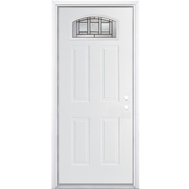 ReliaBilt Craftsman Glass 4-Panel Insulating Core Morelight Left-Hand Inswing Primed Steel Prehung Entry Door (Common: 36-in x 80-in; Actual: 37.5-in x 81.5-in)