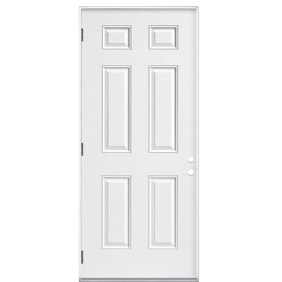 Shop ReliaBilt 6 Panel Prehung Outswing Steel Entry Door Common 30 In X 80