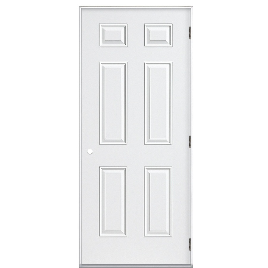 Shop Reliabilt 6 Panel Prehung Outswing Steel Entry Door Common 30 In X 80 In Actual 31 5 In