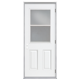 Shop Reliabilt 2 Panel Insulating Core Vented Glass With Screen Left Hand Outswing Primed Steel