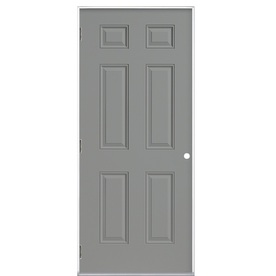 ProSteel 6-Panel Insulating Core Right-Hand Outswing Primed Steel Prehung Entry Door (Common: 32-in x 80-in; Actual: 33.5-in x 80.375-in)