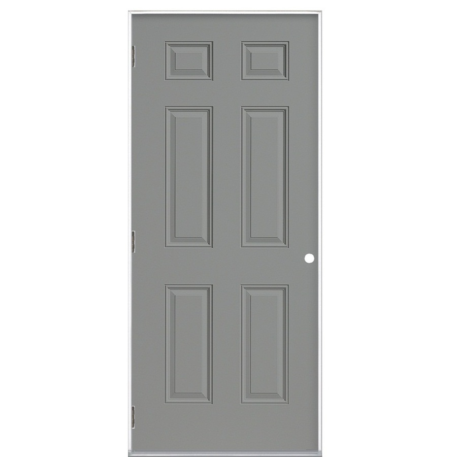 Shop Prosteel 6 Panel Prehung Outswing Steel Entry Door Common 36 In X 80 In Actual 37 5 In