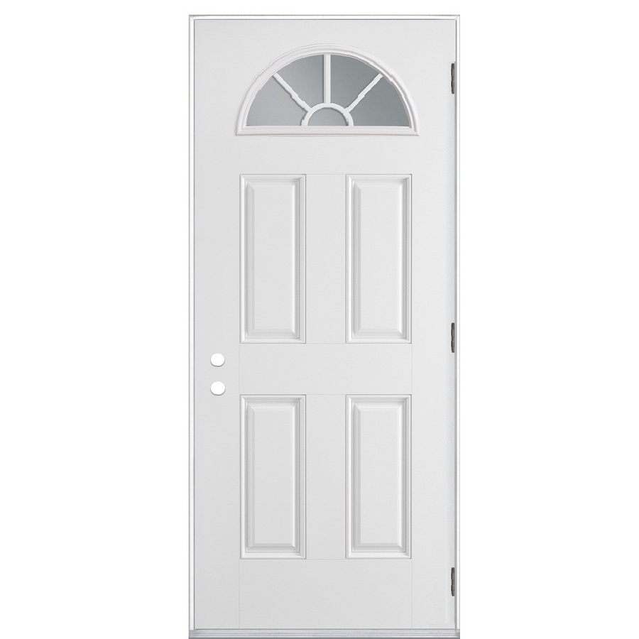 Shop reliabilt fan lite prehung outswing steel entry door for Metal entry doors