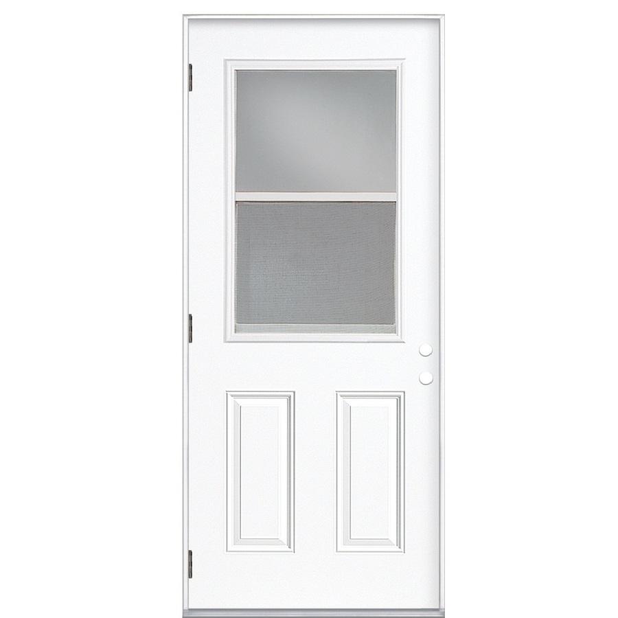 Shop ReliaBilt Half Lite Prehung Outswing Steel Entry Door Common 32 In X 8