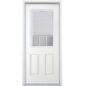 ReliaBilt 2-Panel Insulating Core Blinds and Grilles Between The Glass Half Lite Right-Hand Inswing Primed Steel Prehung Entry Door (Common: 32-in x 80-in; Actual: 33.5-in x 81.5-in)