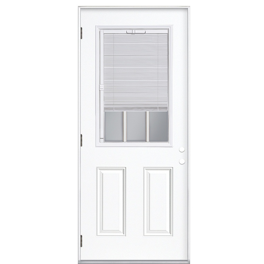 Shop ReliaBilt Blinds Between The Glass Half Lite Prehung Outswing Steel Entr