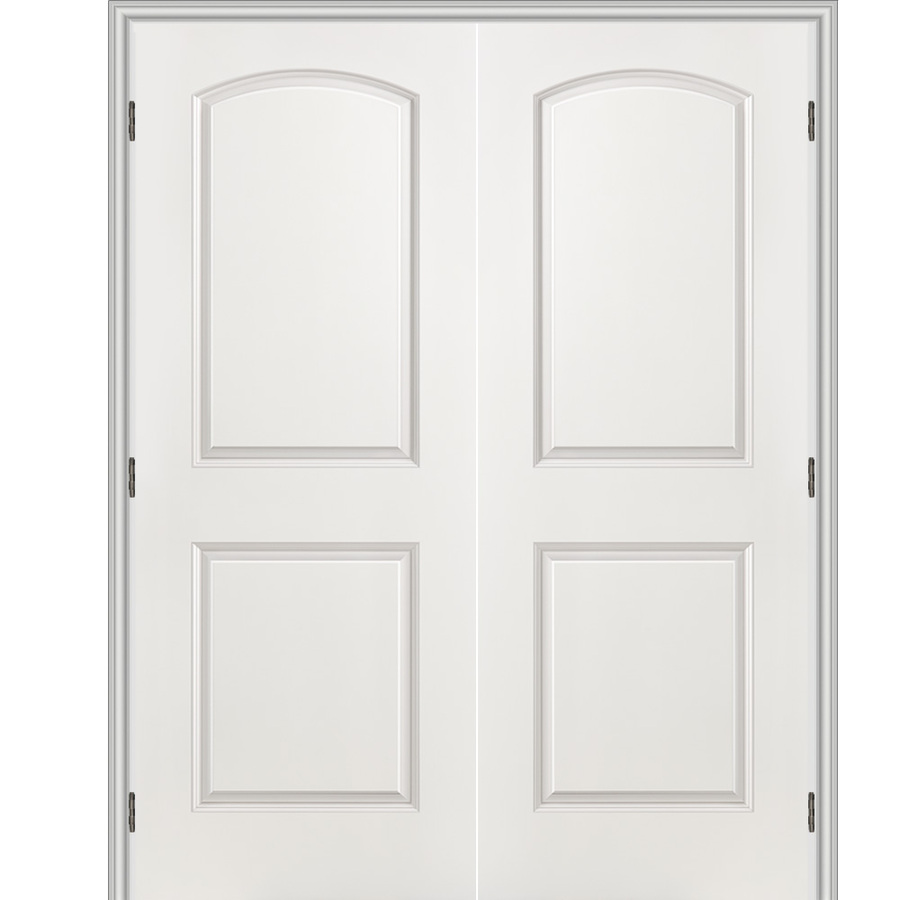 Shop reliabilt 2 panel round top hollow core smooth molded composite reversible interior french for Interior french doors
