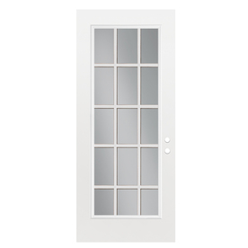 ReliaBilt Flush Insulating Core 15-Lite Right-Hand Outswing Primed Fiberglass Prehung Entry Door (Common: 36-in x 80-in; Actual: 37.5-in x 80.375-in)
