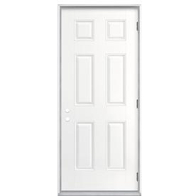 ReliaBilt 6-Panel Insulating Core Left-Hand Outswing Primed Fiberglass Prehung Entry Door (Common: 36-in x 80-in; Actual: 37.5-in x 80.375-in)