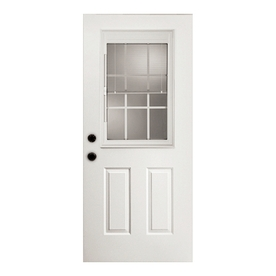 ReliaBilt 2-Panel Insulating Core Blinds and Grilles Between The Glass Half Lite Left-Hand Outswing Primed Fiberglass Prehung Entry Door (Common: 32-in x 80-in; Actual: 33.5-in x 80.375-in)