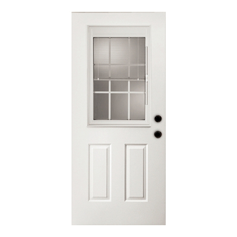 Shop Reliabilt Half Lite Clear Outswing Fiberglass Entry Door Common 80 In X 32 In Actual 81