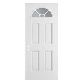 ReliaBilt 4-Panel Insulating Core Fan Lite Left-Hand Outswing Primed Fiberglass Prehung Entry Door (Common: 36-in x 80-in; Actual: 37.5-in x 80.375-in)