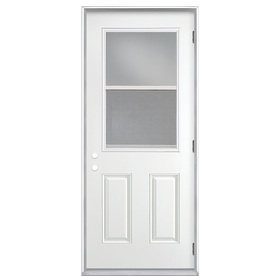 ReliaBilt 2-Panel Insulating Core Vented Glass with Screen Left-Hand Outswing Primed Fiberglass Prehung Entry Door (Common: 32-in x 80-in; Actual: 33.5-in x 80.375-in)