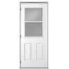 ReliaBilt 2-Panel Insulating Core Vented Glass with Screen Right-Hand Outswing Primed Fiberglass Prehung Entry Door (Common: 32-in x 80-in; Actual: 33.5-in x 80.375-in)