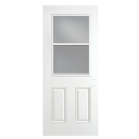 ReliaBilt 2-Panel Insulating Core Vented Glass with Screen Right-Hand Outswing Primed Fiberglass Prehung Entry Door (Common: 36-in x 80-in; Actual: 37.5-in x 80.375-in)