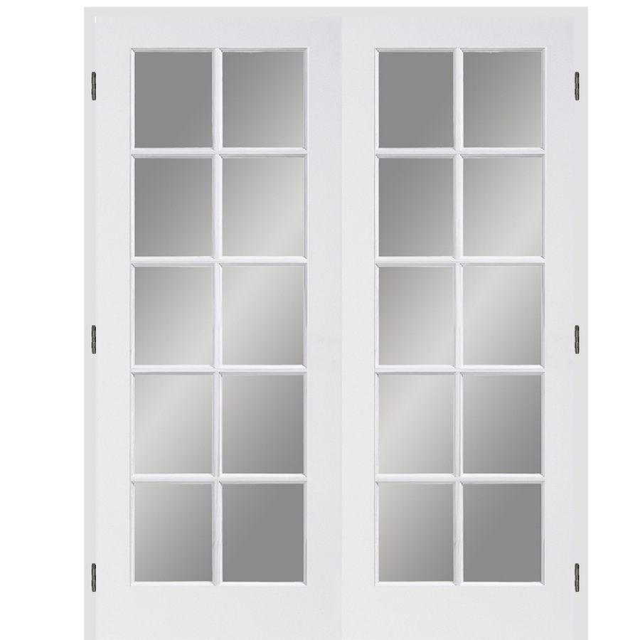 Shop reliabilt 10 lite french solid core pine reversible for Interior french doors