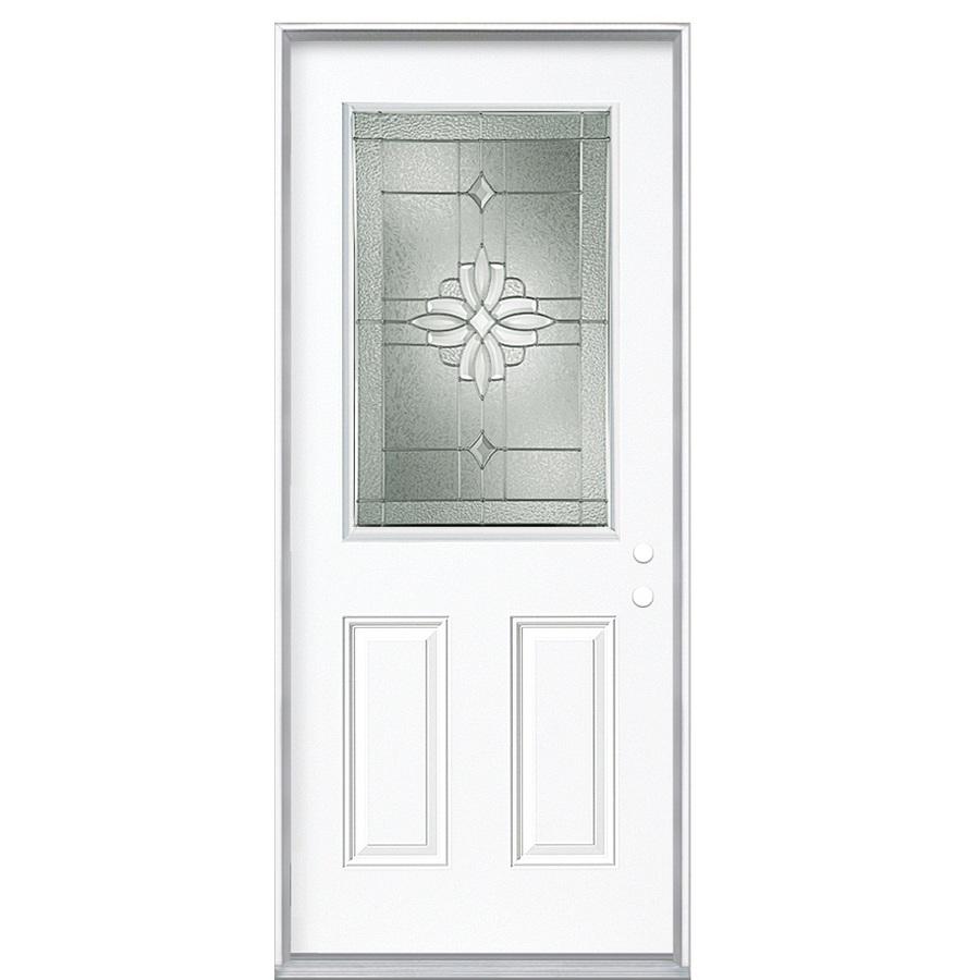 Shop Reliabilt Half Lite Prehung Inswing Steel Entry Door Common 36 In X 80 In Actual
