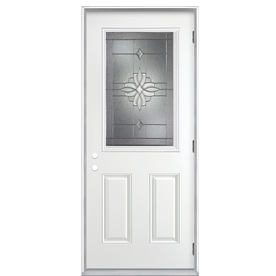 ReliaBilt Laurel 2-Panel Insulating Core Half Lite Left-Hand Outswing Primed Fiberglass Prehung Entry Door (Common: 36-in x 80-in; Actual: 37.5-in x 80.375-in)