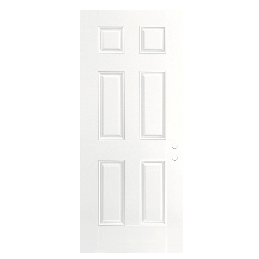 Shop reliabilt 36 6 panel fiberglass entry door slab left for Exterior door slab