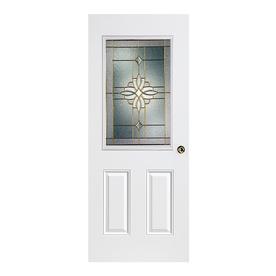 ReliaBilt Laurel 2-Panel Insulating Core Half Lite Left-Hand Inswing Primed Fiberglass Prehung Entry Door (Common: 36-in x 80-in; Actual: 37.5-in x 81.5-in)