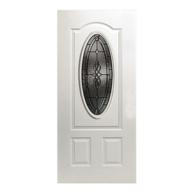 ReliaBilt Hampton 2-Panel Insulating Core Oval Lite Right-Hand Inswing Primed Fiberglass Prehung Entry Door (Common: 36-in x 80-in; Actual: 37.5-in x 81.5-in)