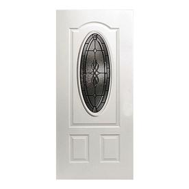 ReliaBilt Hampton 2-Panel Insulating Core Oval Lite Left-Hand Inswing Primed Fiberglass Prehung Entry Door (Common: 36-in x 80-in; Actual: 37.5-in x 81.5-in)