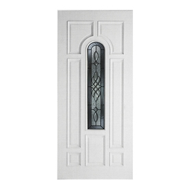 ReliaBilt Hampton 8-Panel Insulating Core Center Arch Lite Right-Hand Inswing Primed Fiberglass Prehung Entry Door (Common: 36-in x 80-in; Actual: 37.5-in x 81.5-in)