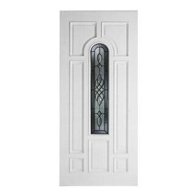 ReliaBilt Hampton 8-Panel Insulating Core Center Arch Lite Left-Hand Inswing Primed Fiberglass Prehung Entry Door (Common: 36-in x 80-in; Actual: 37.5-in x 81.5-in)