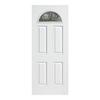 ReliaBilt Laurel 4-Panel Insulating Core Fan Lite Right-Hand Inswing Primed Fiberglass Prehung Entry Door (Common: 36-in x 80-in; Actual: 37.5-in x 81.5-in)