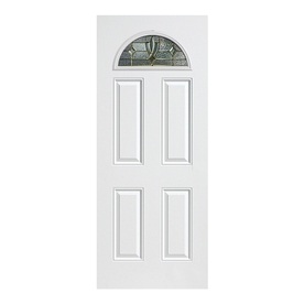 ReliaBilt Laurel 4-Panel Insulating Core Fan Lite Left-Hand Inswing Primed Fiberglass Prehung Entry Door (Common: 36-in x 80-in; Actual: 37.5-in x 81.5-in)