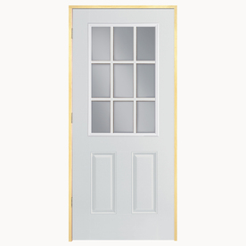 ReliaBilt 2-Panel Insulating Core 9-Lite Left-Hand Inswing Primed Fiberglass Prehung Entry Door (Common: 36-in x 80-in; Actual: 37.5-in x 81.5-in)