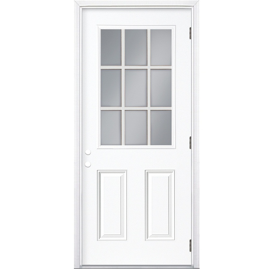 Shop ReliaBilt 9 Lite Prehung Outswing Steel Entry Door Common 36 In X 80 I